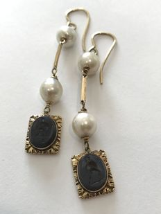 19th century earrings with pearls and inscribed stones