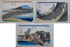 "Three woodcut prints by Utagawa Hiroshige (1797-1858) from the series ""Fifty-Three Stations of the Tokaido"" (reprint) - Japan - mid 20th century"