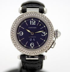 Cartier De Pasha - Automatic Ladies Swiss Made Wristwatch With Diamonds ( 1.14 CT Total )