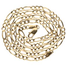 14 kt yellow gold Figaro link necklace - 46 cm