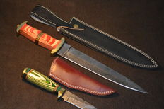 2 Set Original Damascus Knive Handmade Hunting Knives with Cow Hide Leather