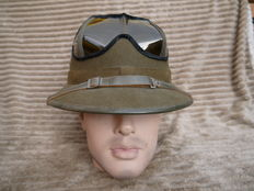 Beautiful German Tropics helmet 1942, with M42 goggles.