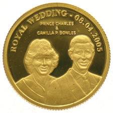 "Cook Islands - 10 Dollars 2005 ""Royal Wedding Charles & Camilla"" – gold"