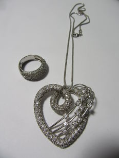 Silver set of a necklace with a large heart pendant + a ring