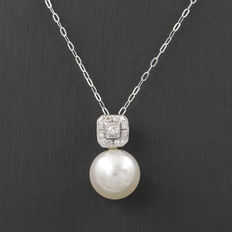 Choker with square pendant made in white gold with brilliant cut diamonds and Australian South Sea pearl