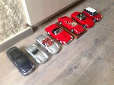 Various - scale  1/18 - set of 7 models: Ferrari, Porsche, Doge, Mini & Mercedes-Benz