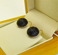 """Authetic Napoleon III """"unpolished french Jet stars"""" antique dormeuses earrings 18kt gold - NO RESERVE"""