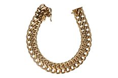 14kt Yellow gold double curb link bracelet in 14 kt. - Length: 20 cm