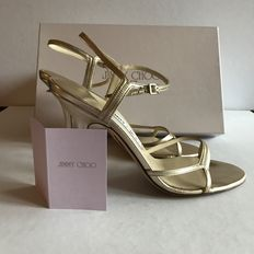 Jimmy Choo gold leather open court shoes