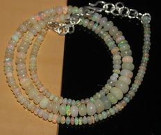 Necklace with Ethiopian Welo fire opal beads, between 3.5 and 6 mm