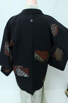 Silk Haori Kimono with  embroidery geometric figures- Japan - early 20th century