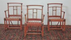 Three bamboo armchairs, modern antique style - ca 1950s/60s.