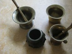 Four mortars-bronze/copper-West Europe-18th and 19th centuries.