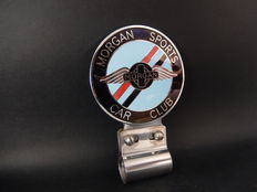 Vintage Chrome and Enamel Morgan Sports Car Club with Badge Bar Fixing Bracket
