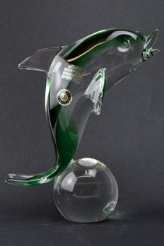"""Paolo Rubelli ( Rubelli Glassworks) - Sommerso sculpture """"Dolphin on a ball"""""""