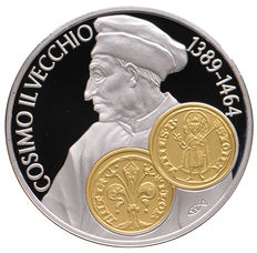 "Netherlands Antilles - 10 guilders Commercial coin 2001 ""Cosimo Il Vecchio"" - silver with gold inlay"