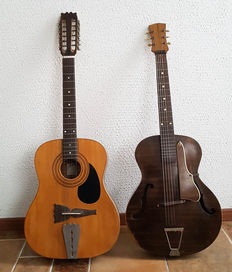 2 old hand-built guitars / 2-string and jazz model fixer-uppers