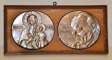 Wooden frame with two 800 silver plaques with Pope John Paul II (Jan Paweł II) and Maria with Child - Poland – 2nd half of 20th century