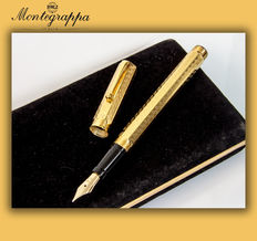 "Montegrappa ""Reminiscence Privilege Gold"" Greek Key Etched, Octagonal ""Vermeil"" Fountain Pen  