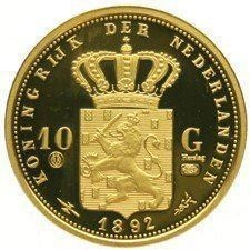 Netherlands - 10 guilder 1892 Wilhelmina - restrike in gold