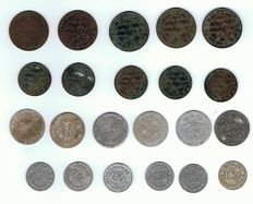 Comoro Islands (colonial period) - Sultan Saïd Ali (5 & 10 Centimes) and Bambao company (0,25 & 0,50 Francs) - Lot of 22 coins