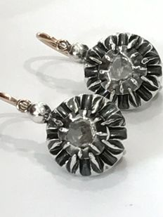 19th century earrings, with antique diamonds.