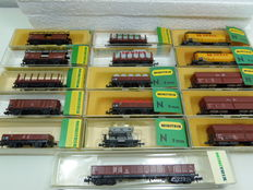 Minitrix N - 3162/3251/3262/3266/3286/3287/3505/3513/3518/3531/3533/3587 - 16 freight carriages of DB
