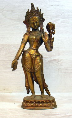 Bronze Tara statue on base, Nepal, 2nd part 20th century