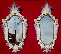 Pair of antique Nove (Vicenza) ceramic Mirrors, Italy, first half of the 19th century