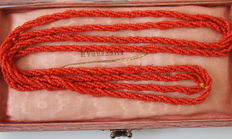 Red coral, long necklace, three  twisted rows.