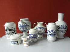 Collection of 8 Pharmacy jars and tile of the pharmacist