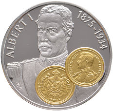 "Netherlands Antilles - 10 guilder Commercial Coin 2001 ""Albert I"" - silver with gold inlay"
