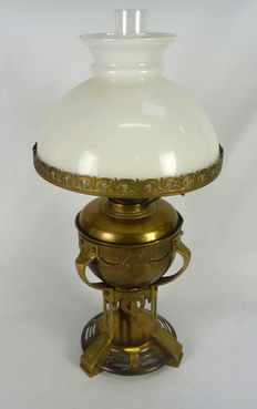 Brass standing oil lamp art deco style, Netherlands, approx.1900