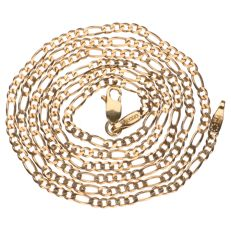 14 kt yellow gold figaro link necklace - 56 cm