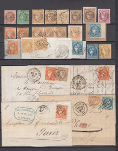 France 1870 - Issue of Bordeaux - Interesting set of stamps, cards, fragments