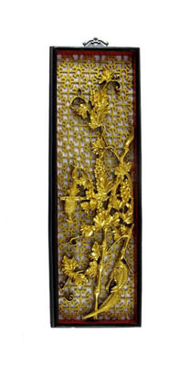 Casket relief. Pair of birds with foliage, vines and bamboo - China - 20th. century