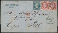 France 1868 – Napoleon on letter to Pest, Hungary – Yvert no. 22 + 32