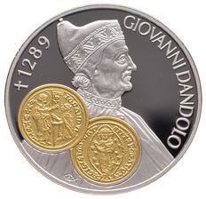 "Dutch Antilles – 10 guilders trading coin 2001 ""Giovanni Dandolo"" – silver with gold inlay"