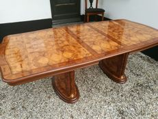 Pietro Costantini – burl wood table, 6 chairs, sideboard and mirror in Hollywood Regency style
