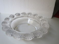 Lalique - glass bowl/dish with scalloped border.