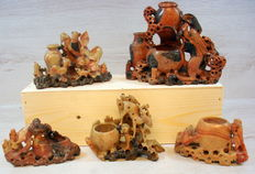 Five pieces of Chinese tooled soapstone - China - early / first half  20th century