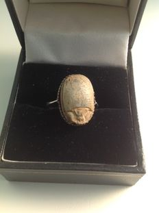 Ancient Egyptian Scarab Ring - Steatite and Silver - circa BC 1400/1450