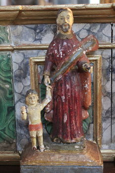 A carved and polychromed wooden Santos statue Joseph and Christ - folk art - South America - 19th century