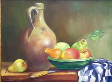 C Borgstein 1917-? )-Still life fruit knife and can ' 90