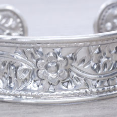 Oxidised sterling silver cuff bracelet with Balinese design.