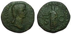 Roman Imperial - Antonia (37 and 41 AD ) - AE Dupondius (28 mm; 10,30 g), struck ca. 41-2 AD - Rome mint - Bust / Claudius veiled and togate - RIC 92
