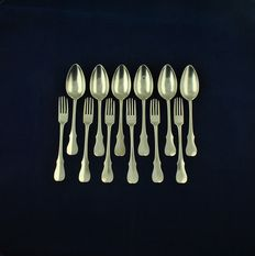 Antique Set of Six silver forks and six silver spoons, Belgium, 1814-1831