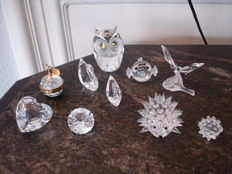 Swarovski - Owl large - Photo frame apple - Hedgehogs (2) - Puffer fish - Butterfly on leaf -Heart - facet stone - members swans (2)