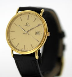 Omega Quartz Vintage 18K Solid Gold Unisex Wristwatch