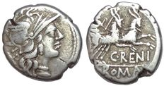 Roman Republic - C. Renius - AR Denarius (18 mm; 3,75 g), c. 138 BC - Rome mint - Roma head / Juno Caprotina in biga - Cr. 231/1